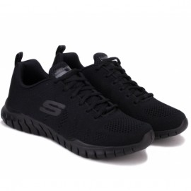 Skechers overhaul debbir 52819bbk (km2788) 41,5(8,5)(р) кроссовки black/black материал