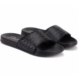 Шлёпанцы skechers summer chic 31546/bbk(kw4422) 38(8)(р) black/black текстиль
