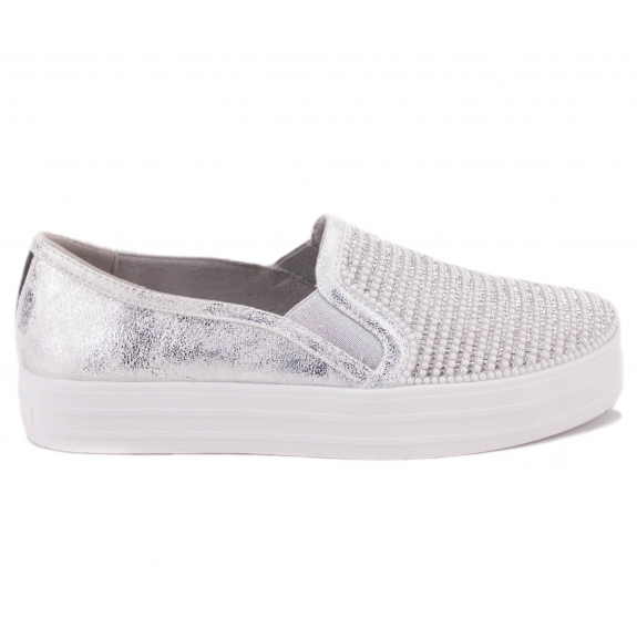 SKECHERS DOUBLE UP - SHINY DANCER 801 SIL (KW458) 38(8)(р) Слипоны Silver Материал